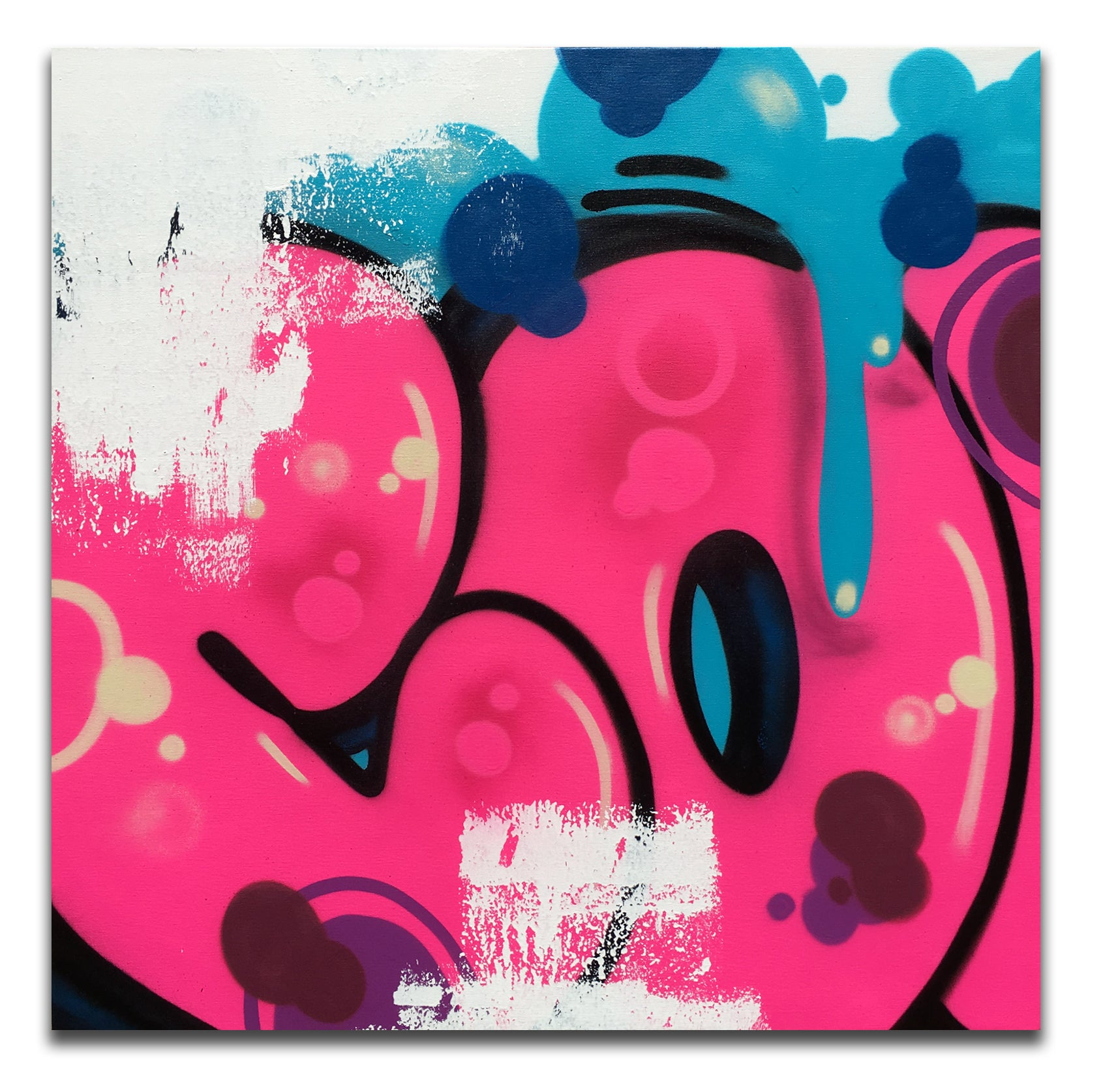 "COPE2   ""Pink Bubble  43"" x 43"" Painting"