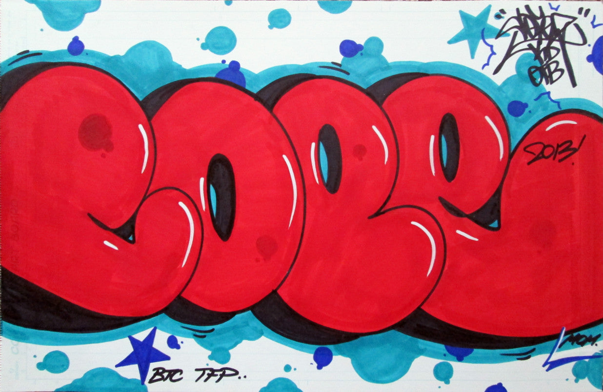 "COPE 2 - "" Red Bubble"" Black Book Drawing"