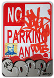 "COPE 2 - ""Silver Classic Bubble 38"" No Parking Sign"
