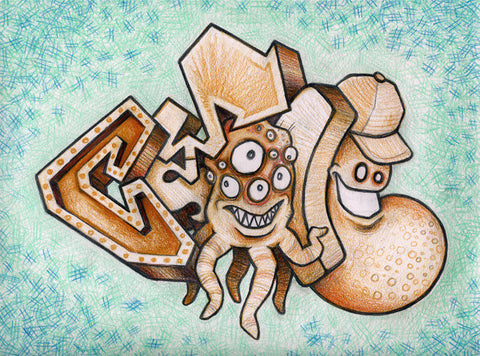 "CYCLE  -  ""Space Squids""  Black Book Drawing"