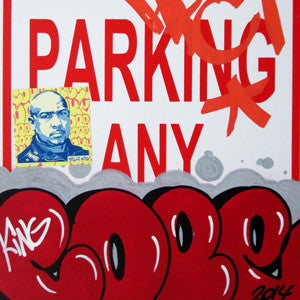 "COPE 2 - ""Red Classic Bubble #1"" No Parking Sign"