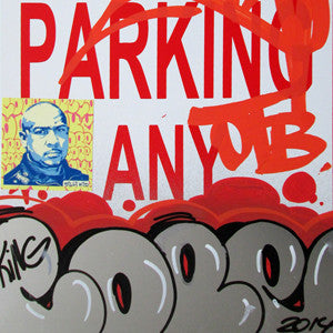"COPE 2 - ""Silver Classic Bubble #2"" No Parking Sign"