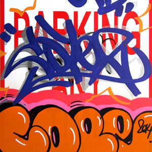 "COPE 2 - ""Orange Classic Bubble "" No Parking Sign"