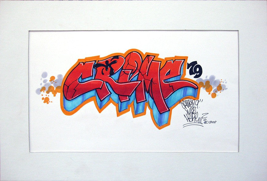 "CRIME 79 - ""Crime Was Here"" Black Book Drawing"