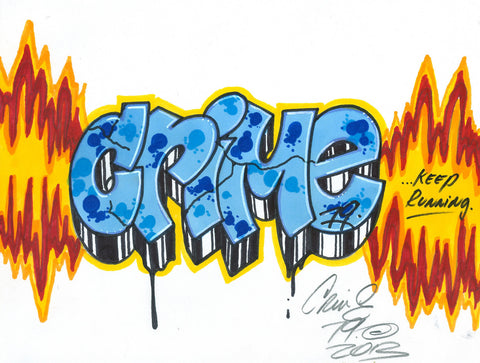 "CRIME 79 - ""Keep Running"" Black Book Drawing"