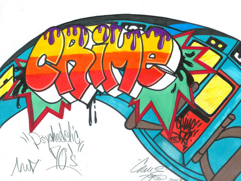 "CRIME 79 - ""Psychedelic"" Black Book Drawing"