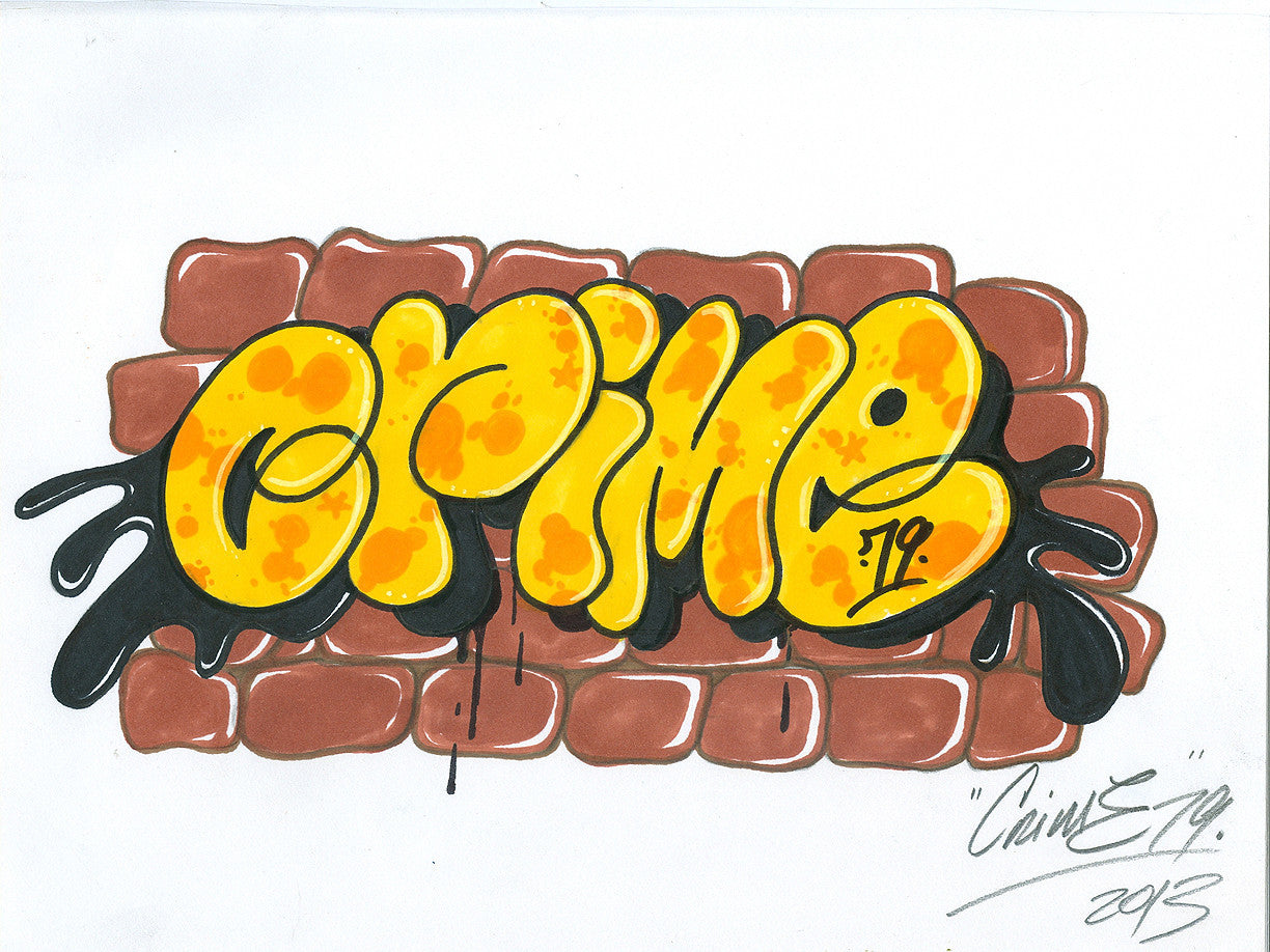"CRIME 79 - ""Throw up"" Black Book Drawing"