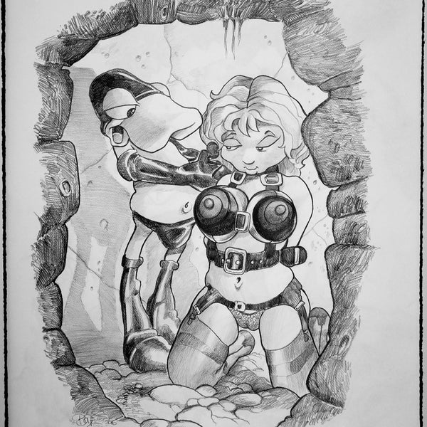 "MARK BODE  "" Fun in da basement  "" Drawing"