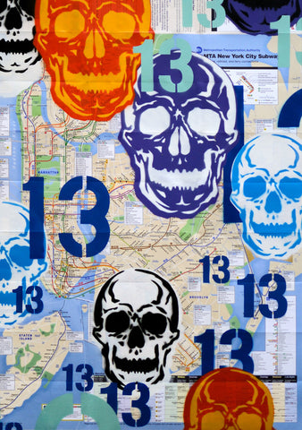 "GRAFFITI ARTIST SEEN -  ""Multi Skull 1"" NYC Map"