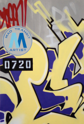 "GRAFFITI ARTIST SEEN -  ""Mad Transit #14""  Painting on Canvas"