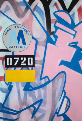 "GRAFFITI ARTIST SEEN -  ""Mad Transit #12""  Painting on Canvas"