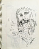 "DANIEL JOHNSTON- ""Cant get you outta my Head"" Notebook Drawing 1980"