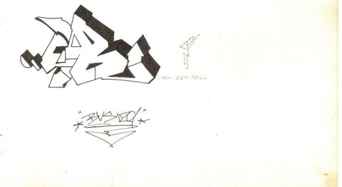 "Dondi White - ""Letter Study B""   Black Book Drawing"