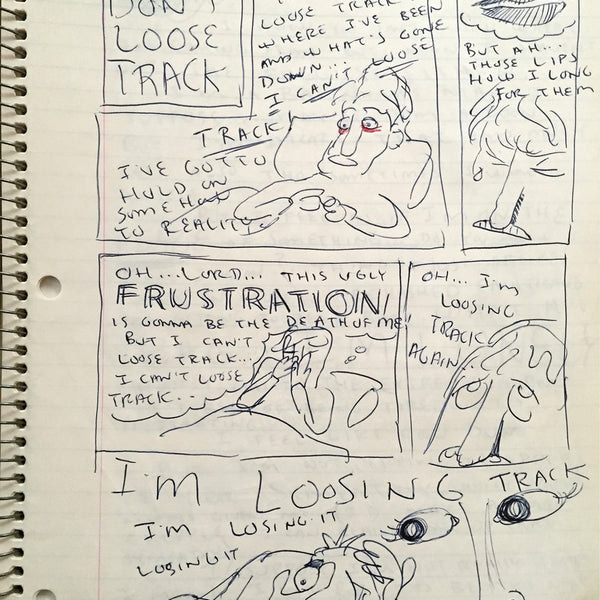 "DANIEL JOHNSTON- ""Don't Lose Track"" Notebook Drawing 1980"