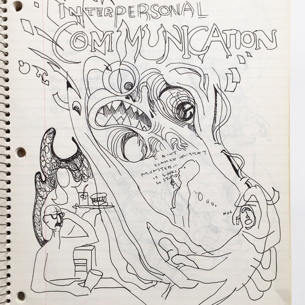 "DANIEL JOHNSTON- ""Interpersonal Communication"" Notebook Drawing 1980"