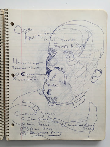"DANIEL JOHNSTON- ""Freudian Theme"" Notebook Drawing 1980"