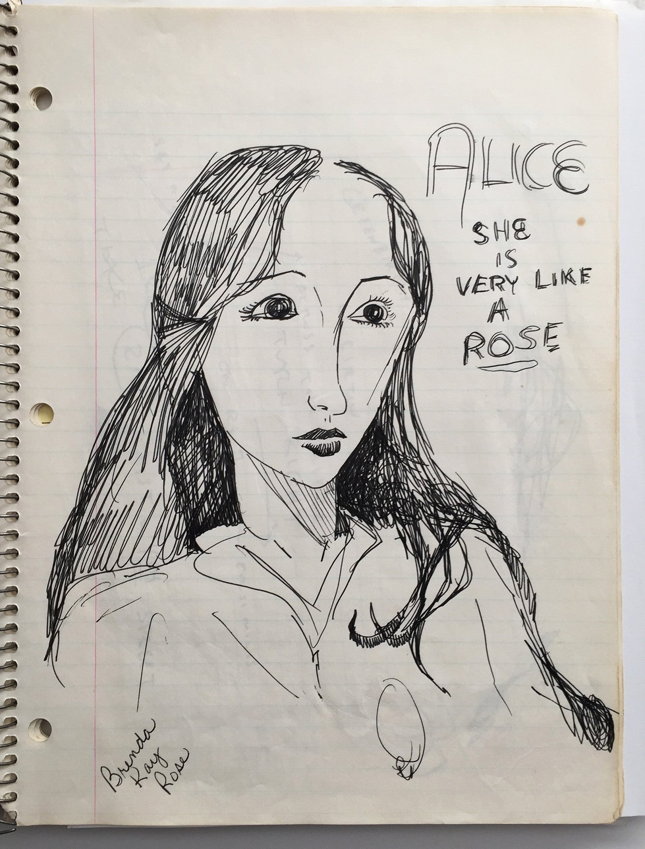 "DANIEL JOHNSTON- ""Alice"" Notebook Drawing 1980"