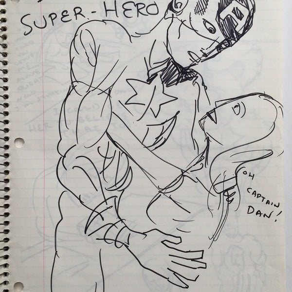 "DANIEL JOHNSTON- ""Im a Superhero"" Notebook Drawing 1980"