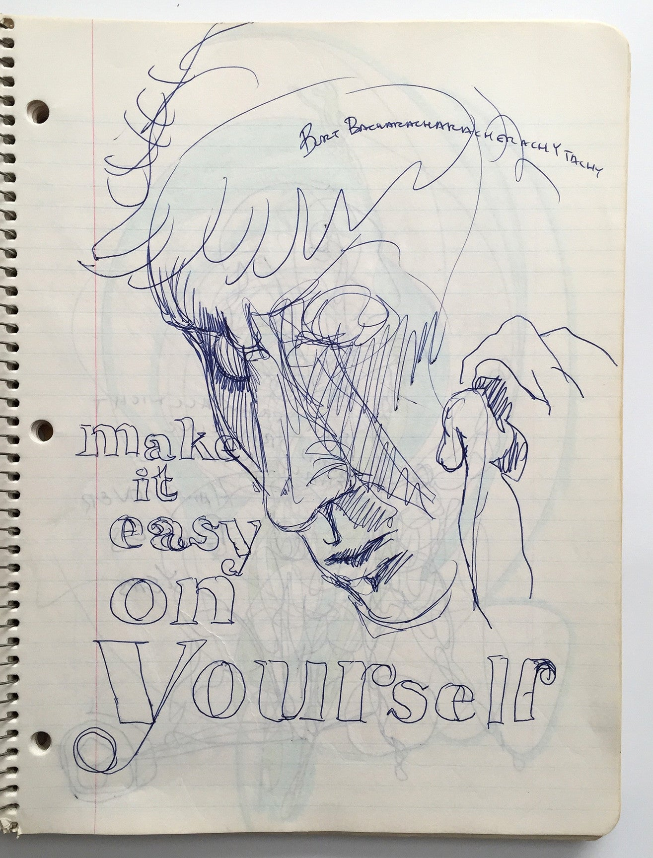 "DANIEL JOHNSTON- ""Make it easy on yourself"" Notebook Drawing 1980"