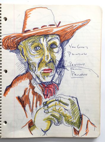 "DANIEL JOHNSTON- ""Van Gogh"" Notebook Drawing 1980"