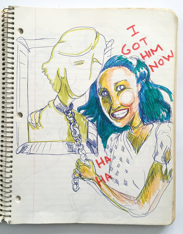 "DANIEL JOHNSTON- ""I got him now"" Notebook Drawing 1980"