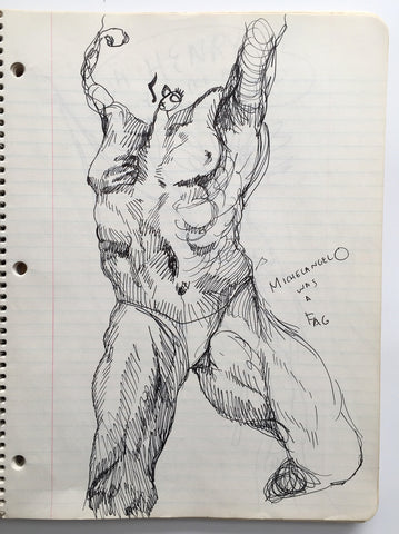 "DANIEL JOHNSTON- ""Michelangelo"" Notebook Drawing 1980"