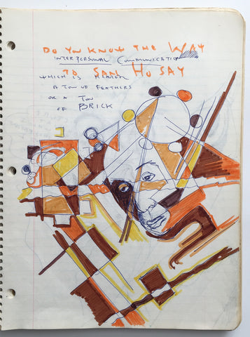 "DANIEL JOHNSTON- ""Do you know the way"" Notebook Drawing 1980"