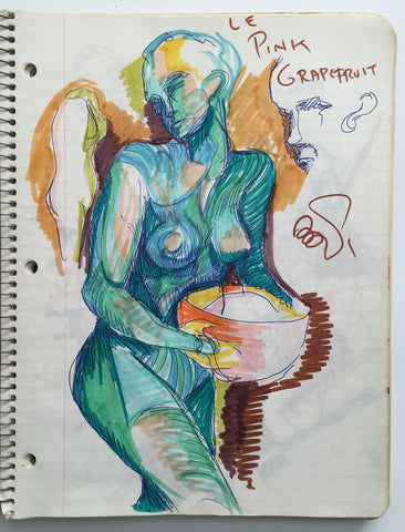 "DANIEL JOHNSTON- ""Pink Grapefruit"" Notebook Drawing 1980"