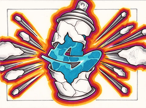 "GRAFFITI ARTIST SEEN - ""Exploding Can"" Drawing"