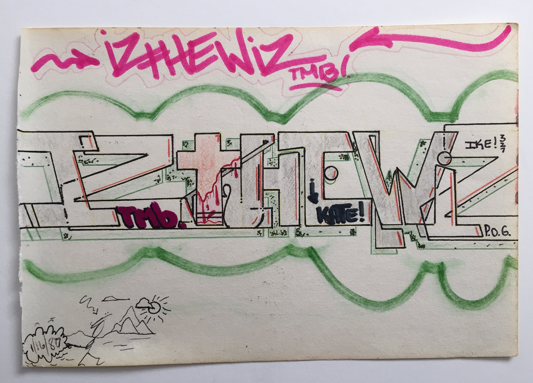 "IZ THE WIZ - ""IZ THE WIZ"" Drawing 1987"