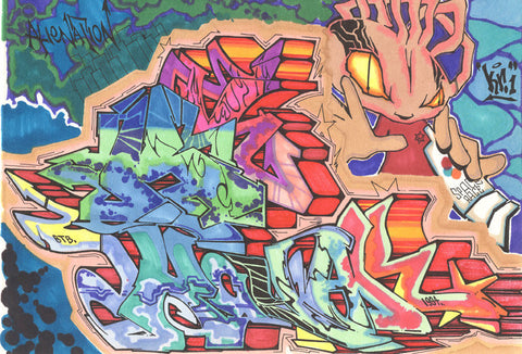 "KR.ONE - ""KAY-AR Alien Nation"" Black Book Drawing"