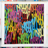 "GRAFFITI ARTIST SEEN  - ""Multi Tags #5""  Aerosol on  Canvas 30""x30"""