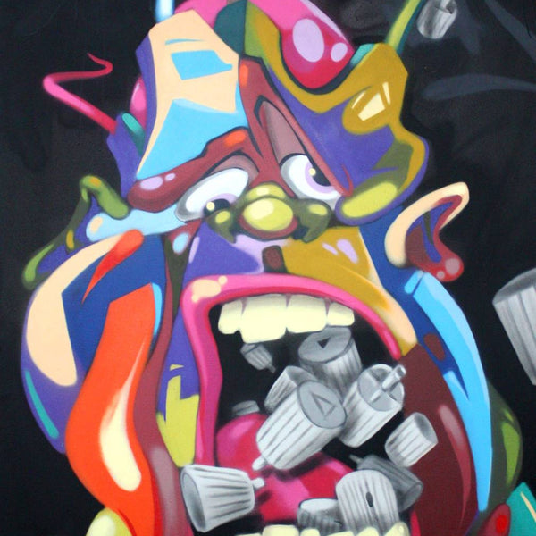 "MAN ONE "" Mouthful of Caps"" Painting"