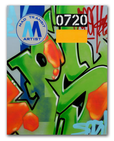 "GRAFFITI ARTIST SEEN  -  ""MTA PSY""  Aerosol on  Canvas"