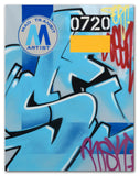 "GRAFFITI ARTIST SEEN  -  ""MTA W/ RISK Tag""  Aerosol on  Canvas,"