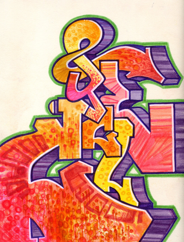"CYCLE  -  ""Mambo #5 Purple""  Black Book Drawing"