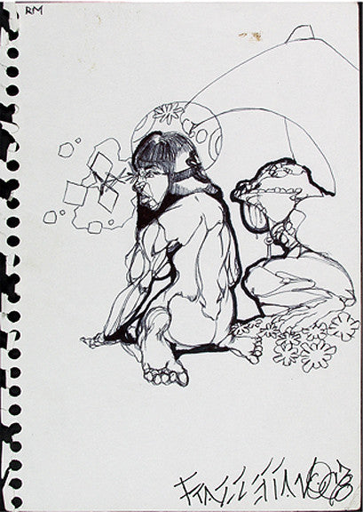 "NOC 167 - ""Seated Woman"" Black Book Drawing"