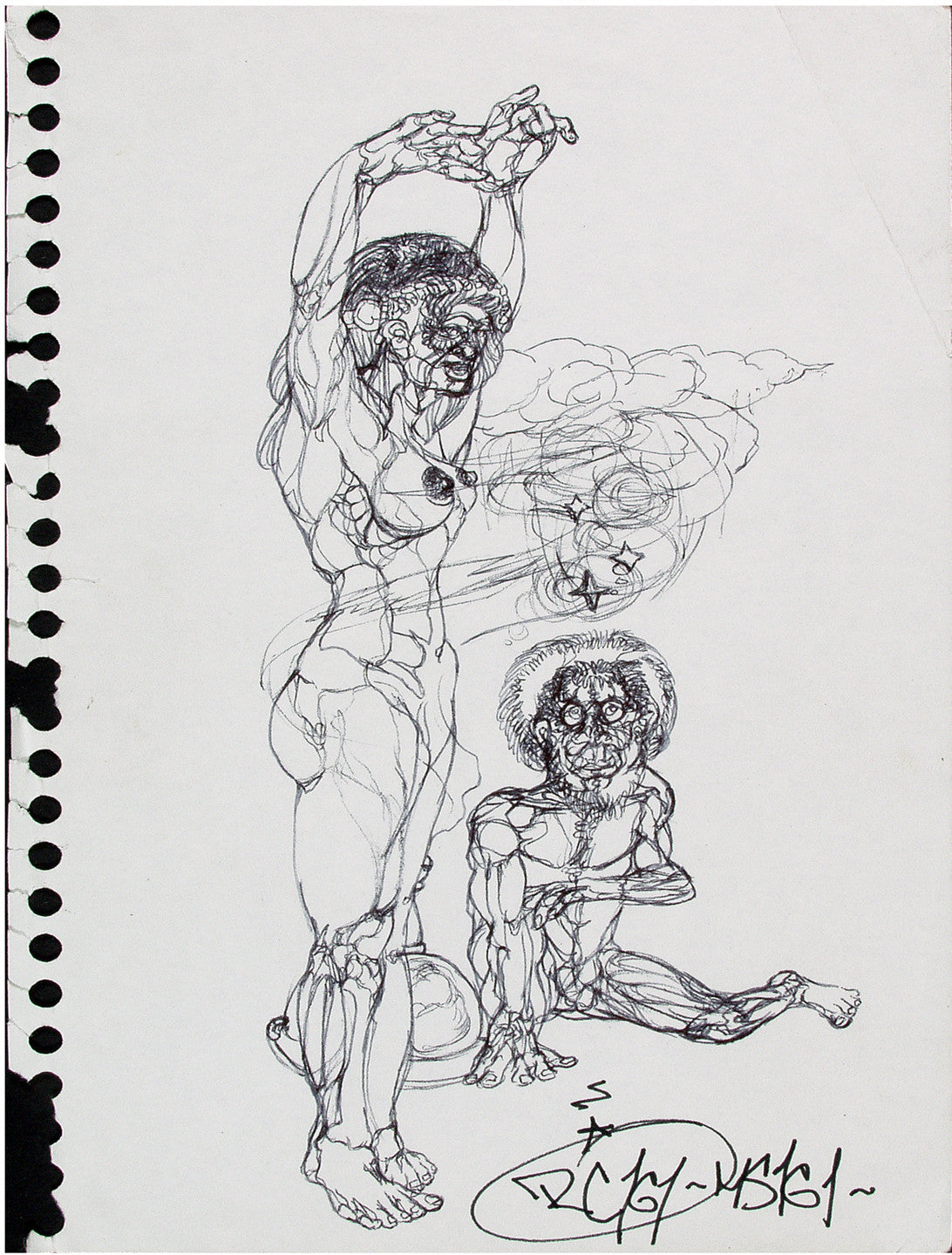 "NOC 167 - ""Standing Woman"" Black Book Drawing"
