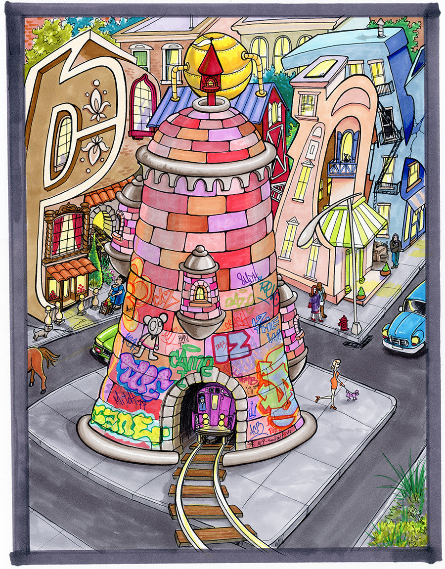 "LADY PINK -  ""Spray Can Tower"" Drawing"
