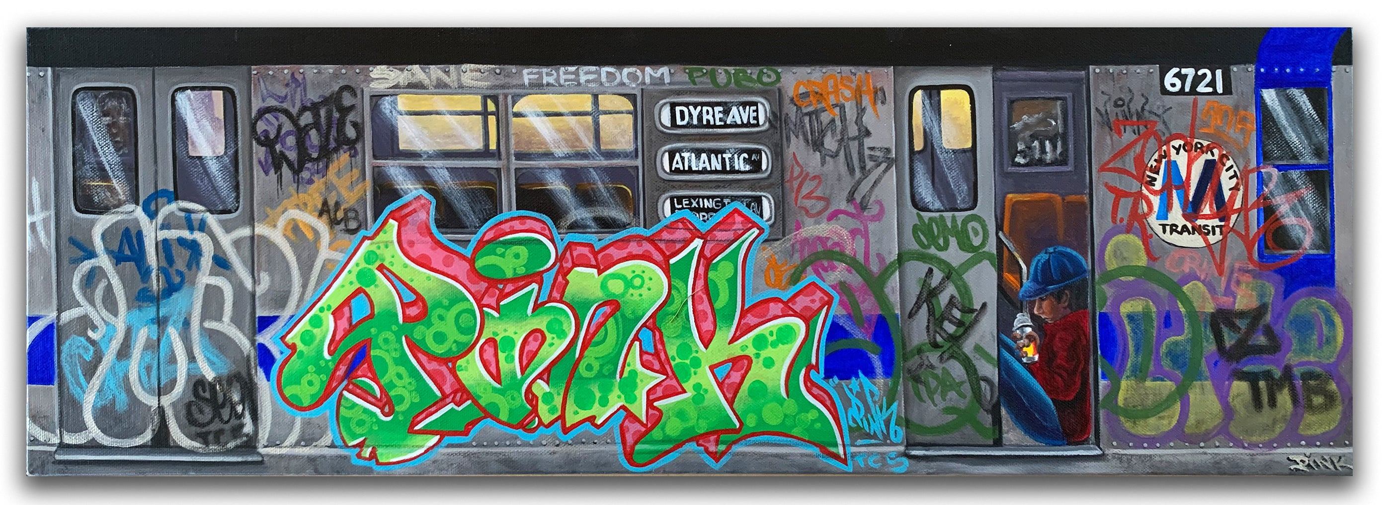 "LADY PINK- ""Dyre Ave"" Painting"