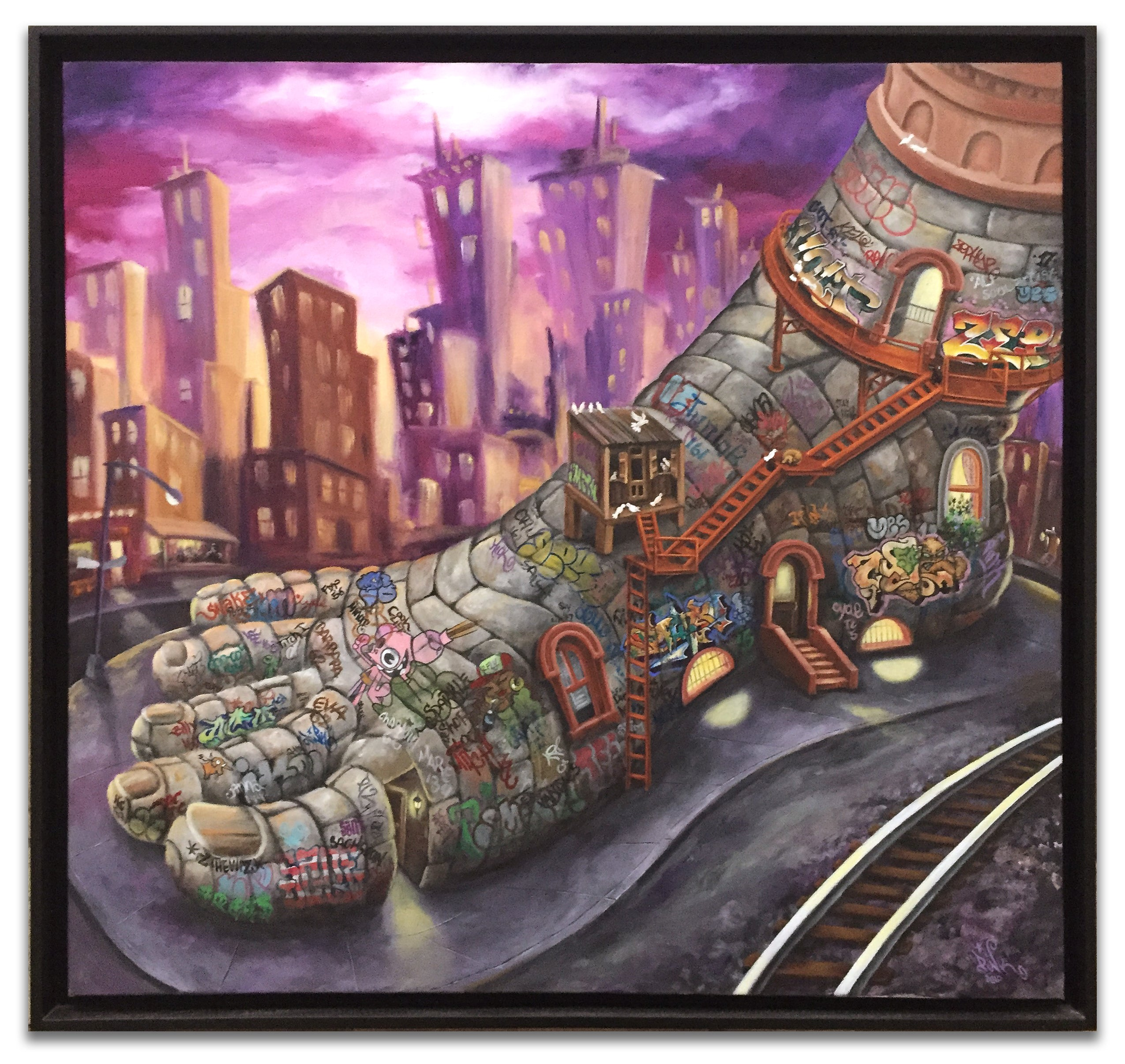 "LADY PINK- ""Five Pointz"" Painting"
