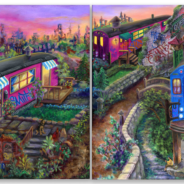 "LADY PINK- ""Subway Village"" Painting Diptych"