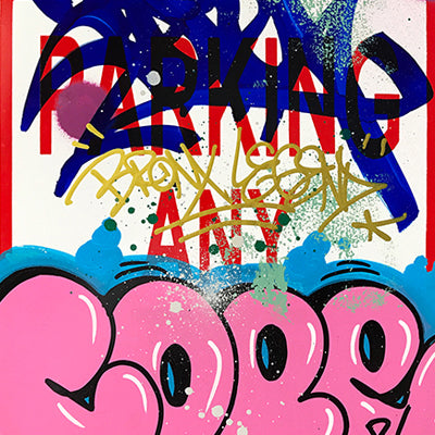 "COPE 2 - ""Pink Classic Bubble"" No Parking Sign"