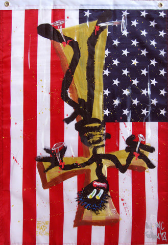 "QUIK - ""Crucifix flag"" Painting 2"