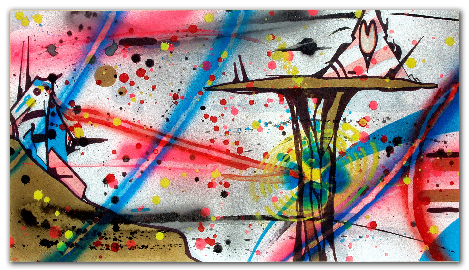 "RAMMELLZEE - ""Tower of Panzerism Low Blow"" Painting 1989"