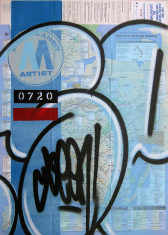 "GRAFFITI ARTIST SEEN -  ""Blue Bubble"" NYC Map"