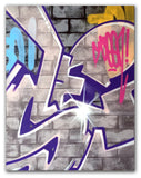 "GRAFFITI ARTIST SEEN  -  ""Wall 6""  Aerosol on  Canvas"