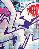 "GRAFFITI ARTIST SEEN  -  ""Wall 9""  Aerosol on  Canvas"