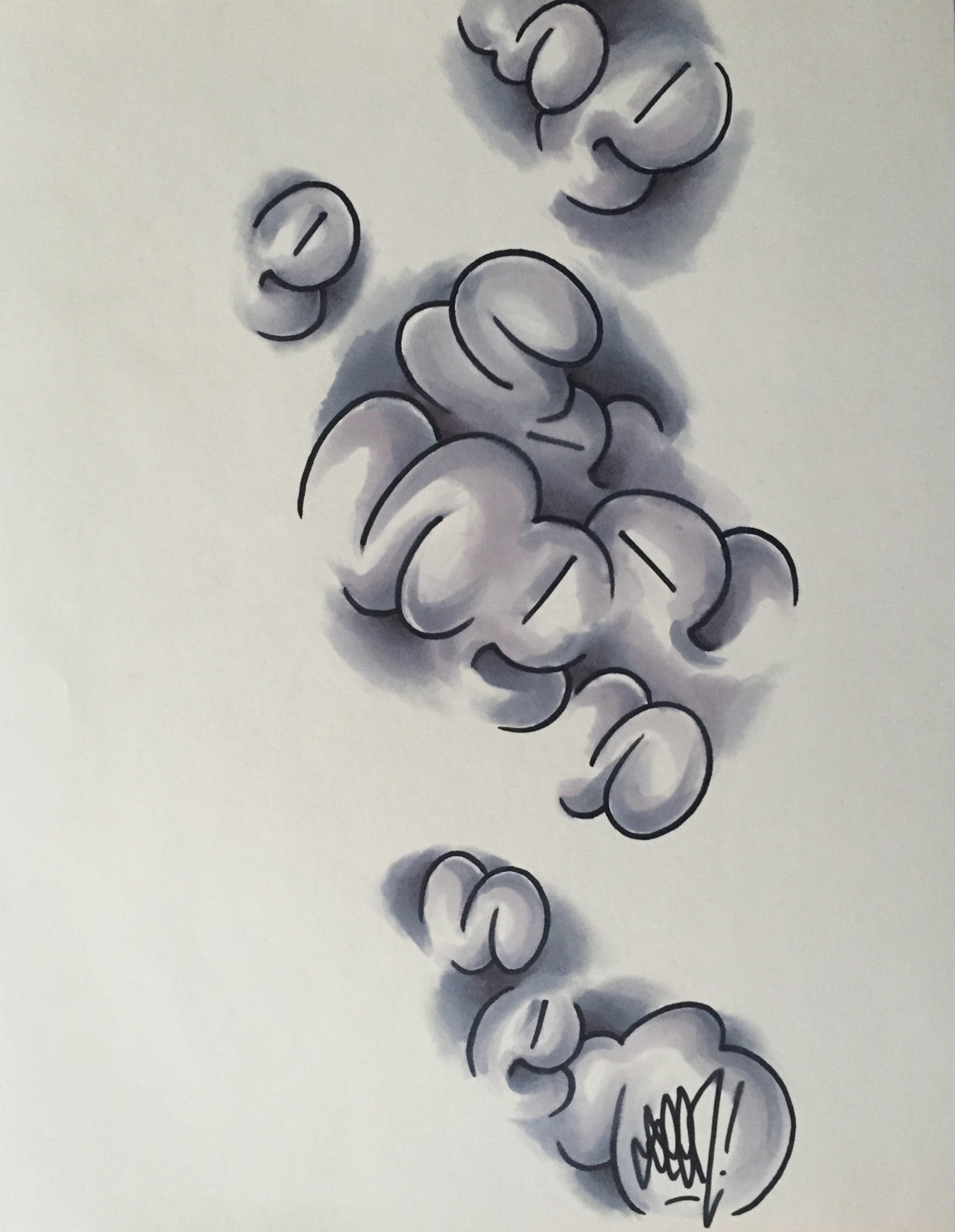 "GRAFFITI ARTIST SEEN - ""Bubble S's"" - Drawing"