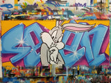 "GRAFFITI ARTIST SEEN  -  ""Bugs Bunny""  Aerosol on  Canvas"
